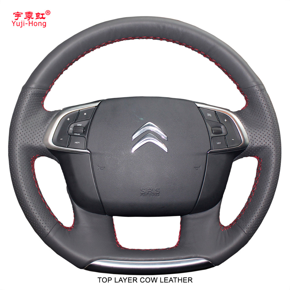 Yuji Hong Top Layer Genuine Cow Leather Car Steering Wheel Covers Case for Citroen C4 C4L