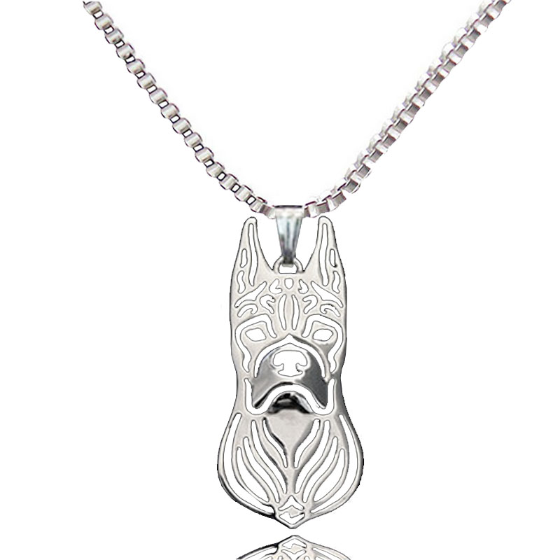 Boxer Dog Pendant Silver Plated Animal Necklace For Pet Lovers Women Best Gift Fashion Jewelry Wholesale 2017