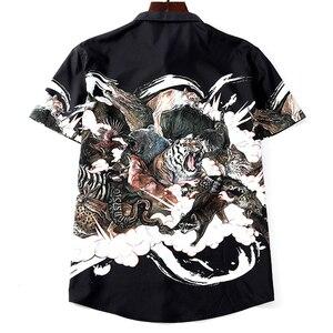 Image 2 - Homens Camisa Plus Size Impressão Besta Camisa de Manga Curta Casuais Verão Fina 5XL 6XL 7XL 8XL 9XL 10XL Sólida Masculino camisa da cor Preta