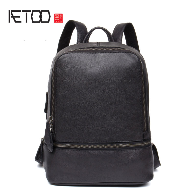 AETOO Men's leather backpack leather shoulder bag female leisure travel bag first layer of leather computer bag new korean version of the first layer of leather shoulder bag leisure travel bag fashion leather wild cat ears backpack