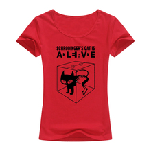 """Schrodinger's cat is Alive"" women T-shirt – 4 Colors"