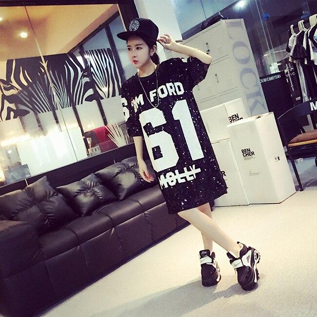 harajuku style loose fashion girls sequin shiny letter hip hop streetwear cool long t shirts. Black Bedroom Furniture Sets. Home Design Ideas