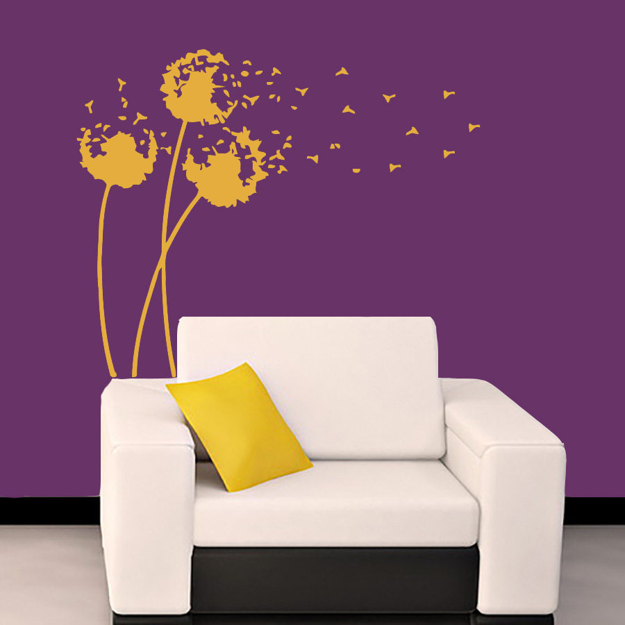 compare prices on dandelion vinyl wall decals online shoppingbuy  - dctop yellow dandelion wall sticker living room home decor diy removablevinyl art nursery window wall