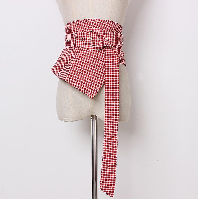 Women's Runway Fashion Plaid Checked Fabric Cummerbunds Female Dress Corsets Waistband Belts Decoration Wide Belt R1346