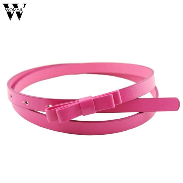 Amazing New Fashion Candy Color Women PU Leather Casual Thin Belt Cummerbund For Gril Women