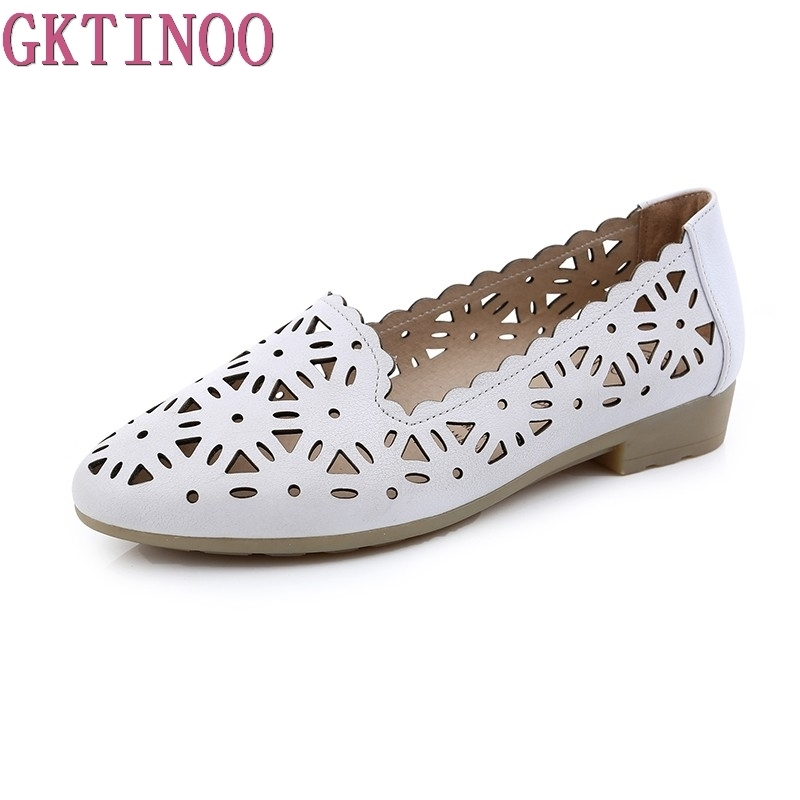 GKTINOO 2018 Women Flat Shoes Genuine Leather Woman Ballet Pointed Toe Flats Summer Lady Hollow Out Loafers Women Shoes Sandals new 2017 summer flat sandals sexy pointed toe designer side buckle sandals woman shoes tide brand woman sandals hollow flats