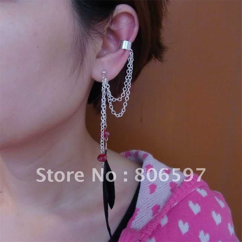 WHHEC089,free shipping wholesale fashion silver chain ear cuffs ...