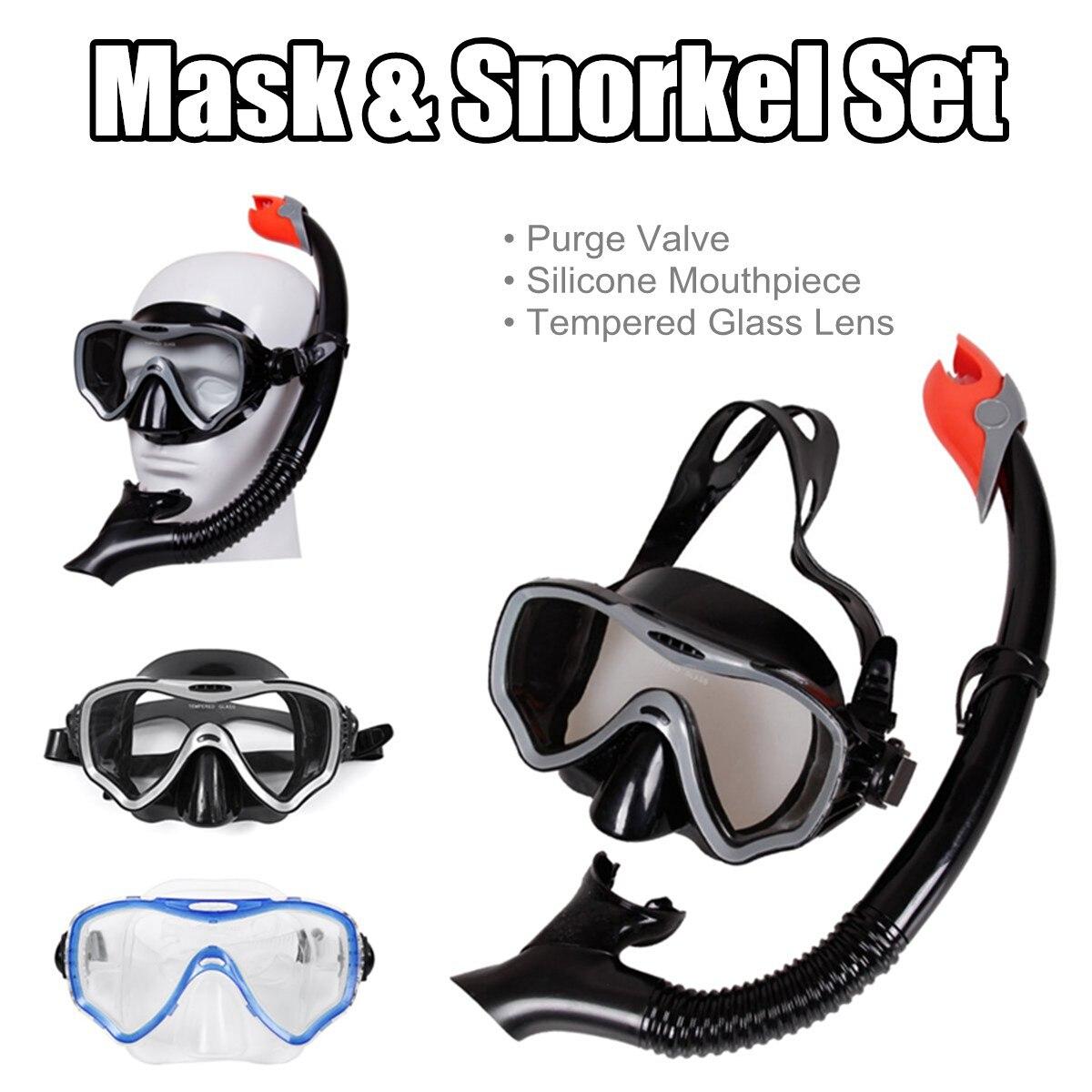 Adattabile Professionale Scuba Diving Maschera E Vetro Temperato Boccagli Anti-nebbia Occhiali Occhiali Da Nuoto Immersioni Facile Breath Tubo Set Di 2 Colore
