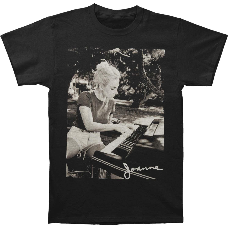 Lady Gaga Mens Joanne Piano Photo Tee T-Shirt Black / White Summer Short Sleeves Cotton Fashion Fashion Men T Shirt