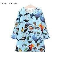 YWHUANSEN Spring Dress For Girls Europe And America Style Princess Dress Cartoon Printing Parrot Vestido De
