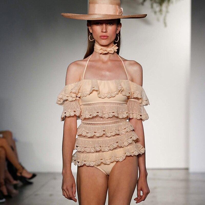 Nouveau maillot de bain fille maillots de bain en dentelle Sexy Bandeau maillot de bain creux Monokini maillot de bain Vintage maillot de bain d'été femmes 2019