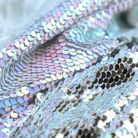 double sided metal felt texture small Sequins Fabric Fish Scales Latin Dance Dress Material by yard Mermaid Style