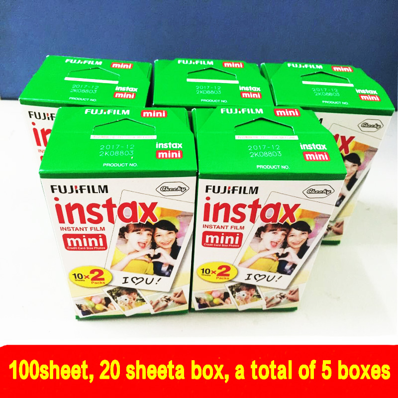 все цены на 100 sheets High quality Original Fujifilm instax mini 8 film for 7S 25 8 50s 90 polaroid instant camera mini film white edage онлайн