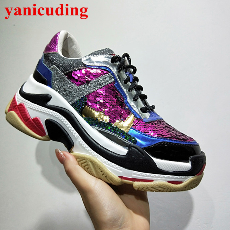 Round Toe Front Lace Up Women Shoes Sequined Cloth Colorful Flats High Top Girl Casual Shoes Sneakers Superstar Sapato Feminino