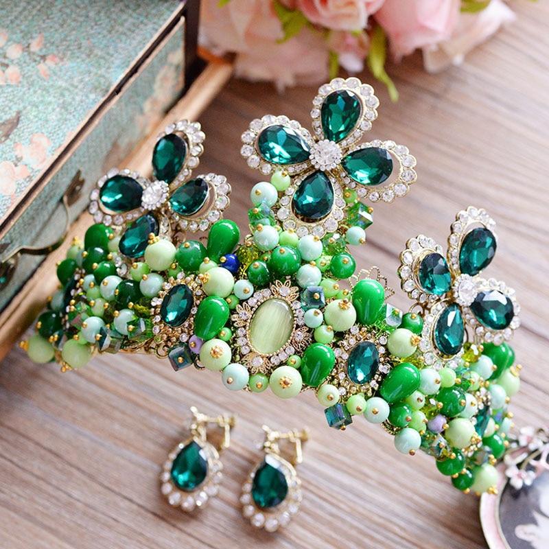 New Arrival Green Baroque Queen of Crown Set Ruslana Korshunova Tiara Headpieces Prom Hair Accessories