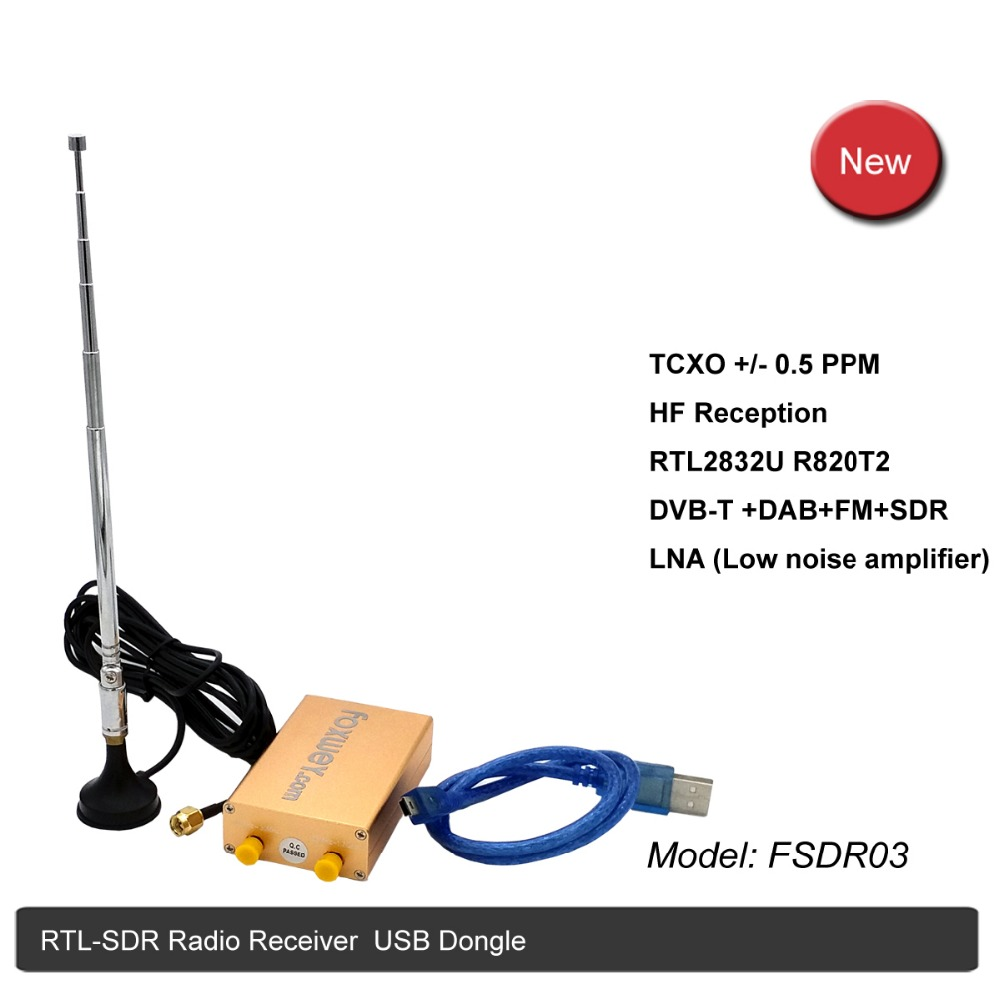 RTL-SDR radio receiver RTL2832U black R820T2 new chipset and antenna