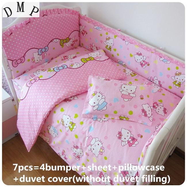 Discount! 6/7pcs Cartoon Baby Bedding Sets Crib Cot Bassinette Bumper Padded Quilt Cover,120*60/120*70cm