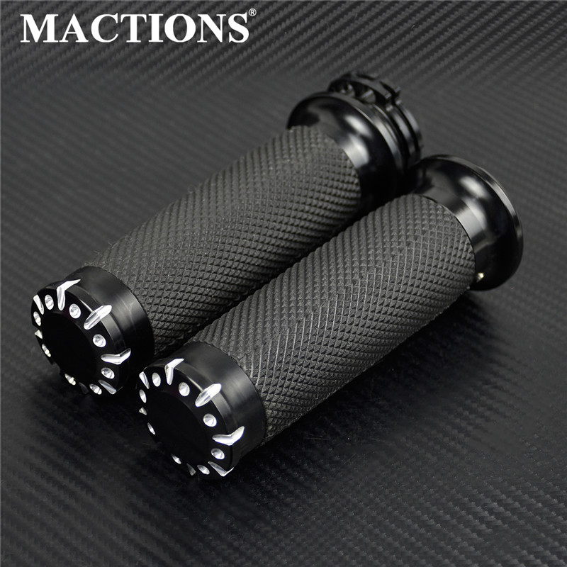 Motorcycle Rubber Hand Grips All Black CNC For Harley Touring Sportster 883 1200 XL Dyna Softail VRSC 1996-up