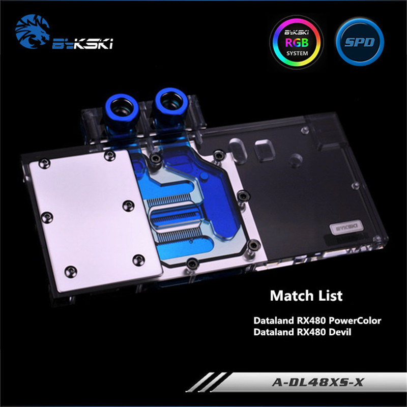 купить Bykski Full Coverage GPU Water Block For Dataland PowerColor Devil RX480 RX470 RX580 Graphics Card A-DL48XS-X по цене 5941.62 рублей