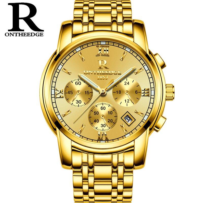 Mens or de luxe montres à quartz homme montre en acier inoxydable noir argent bleu étanche calendrier D'affaires Suisse ONTHEEDGE