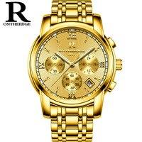 Mens Gold Luxury Watches Quartz Male Clocks Stainless Steel Black Silver Blue Waterproof Business Luminous Calendar