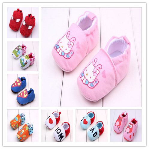 2015 New Hot Sale Cotton Baby Shoes First Walker Very Soft Infants Newborn Boys Girls Lovely Crib Shoes