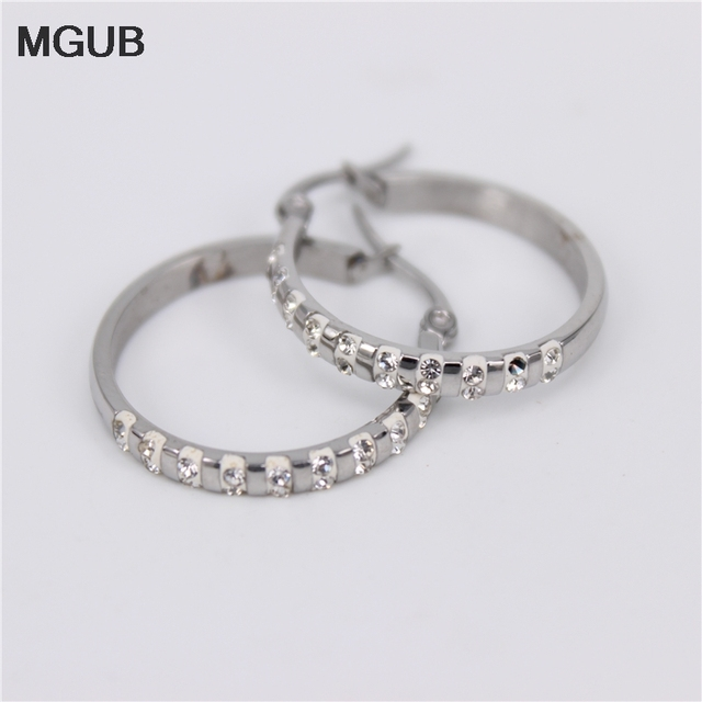 6c9db2fb8 MGUB Wholesale stainless steel New Arrival Small Little Hoop Earrings for Women  Girl with Crystal Earring Accessories Gift JX4