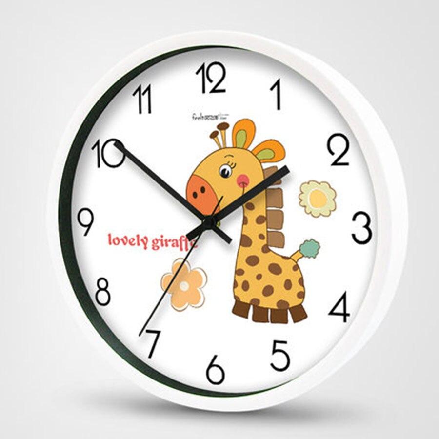 Mignon dessin animé horloge murale animaux grand verre horloge mouvement silencieux en plastique Wanduhr Mural grand mur montres décor à la maison 50ZB0162