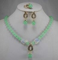 Prett جميل المرأة الزفاف أفضل المجوهرات مجموعة الجملة سعر المصنع شبه الكريمة جوهرة الحجر قلادة حلق حلقة 6 7 8 9 #
