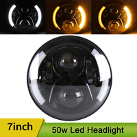 7inch Round Led Headlight H4 Headlamp High Low Beam DRL Daytime Running Light Left Right Turn