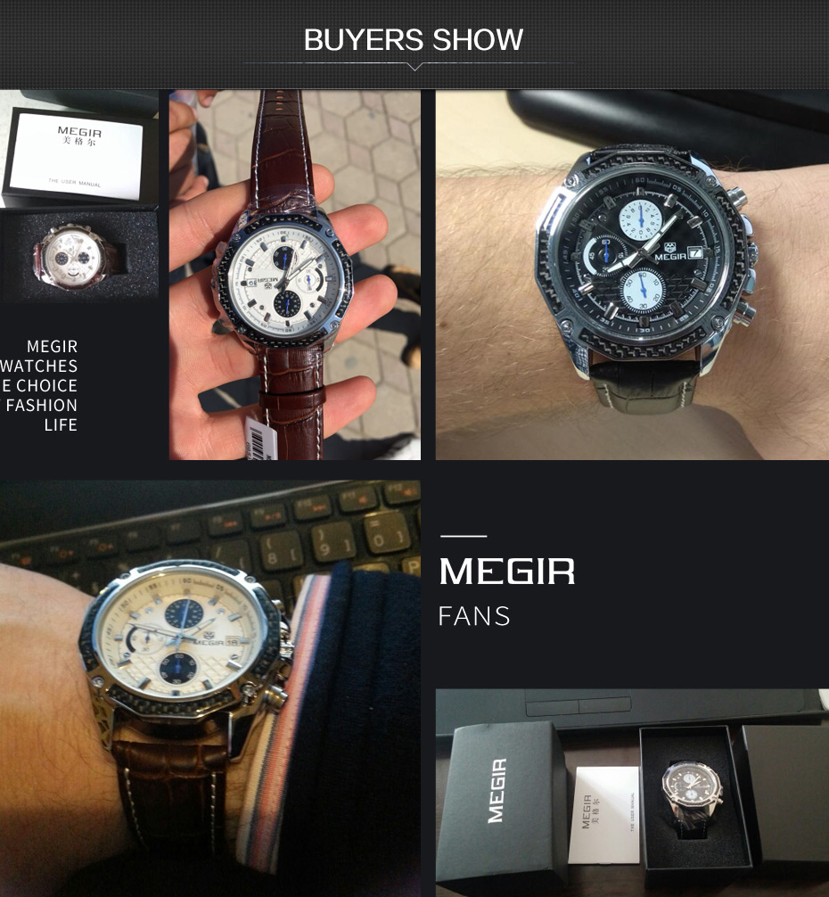 Topdudes.com - MEGIR Genuine Fashion Quartz Leather Chronograph Watch