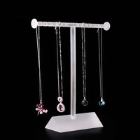 Frosted Acrylic T shape Chain Display Holder Necklace Display Stand Pendant Display Stand Elegant Bracelets Holder