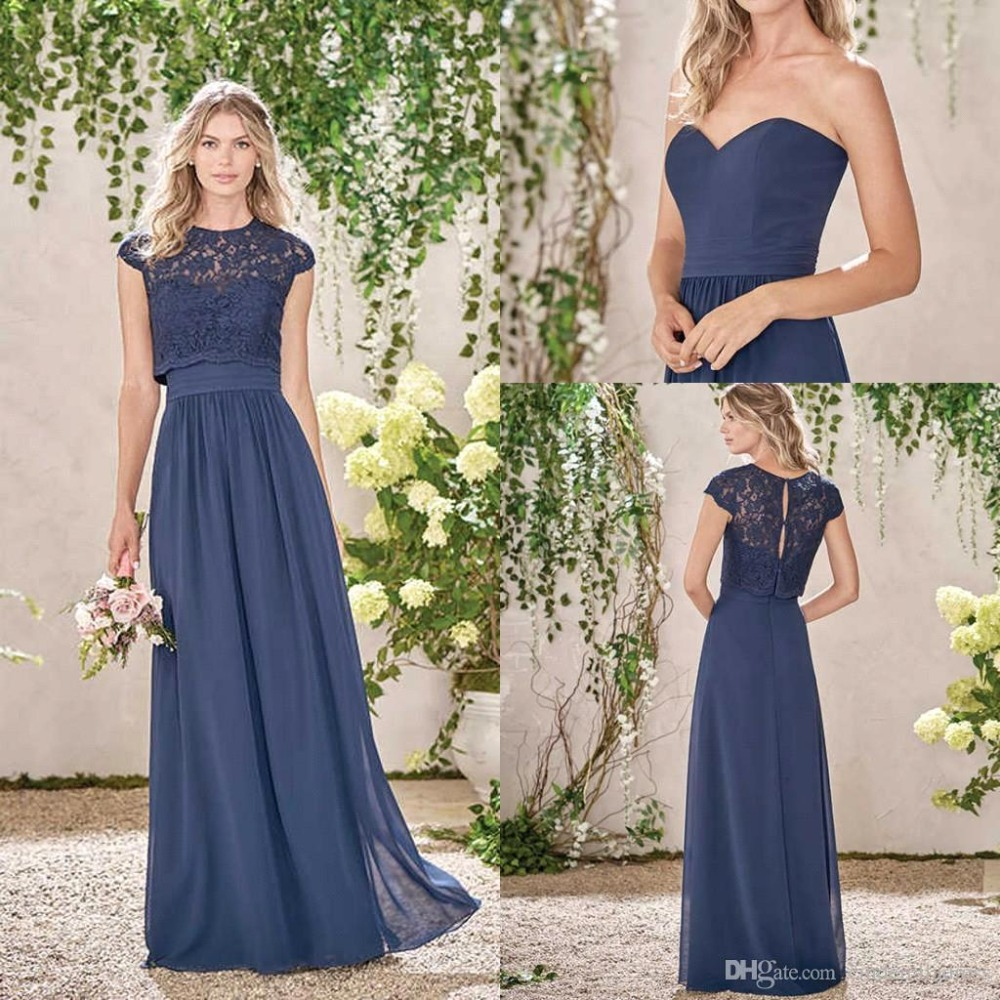 Blue Wedding Dresses 2019: Cheap Blue Long Country Style Bridesmaid Dresses 2019 With