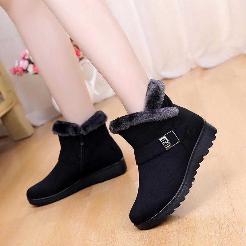 Women Snow Boots Warm Short Fur Plush Winter Ankle Boot Plus Size Platform Ladies Suede Zip Shoes Female Comfort Drop Shipping