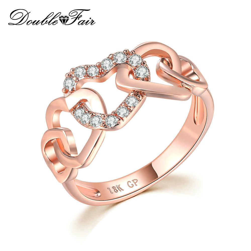 Double Fair 5 Big Love Hearts Connected With Shining CZ Stone Finger Rings For Women Girls Anniversary Jewelry HotSale DFR668