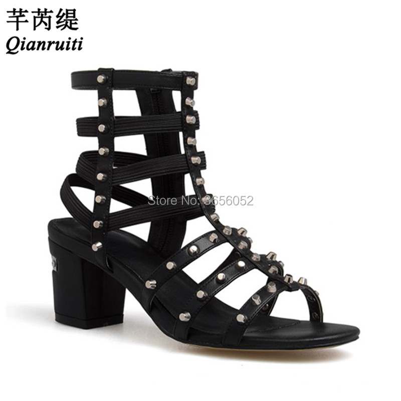 cc7c9cc8d97 Qianruiti Sandalias Mujer 2018 Summer Caged Ankle Boots Chunky Heels Spiked  Shoes Sandles Rivet Studs Gladiator Sandals Women