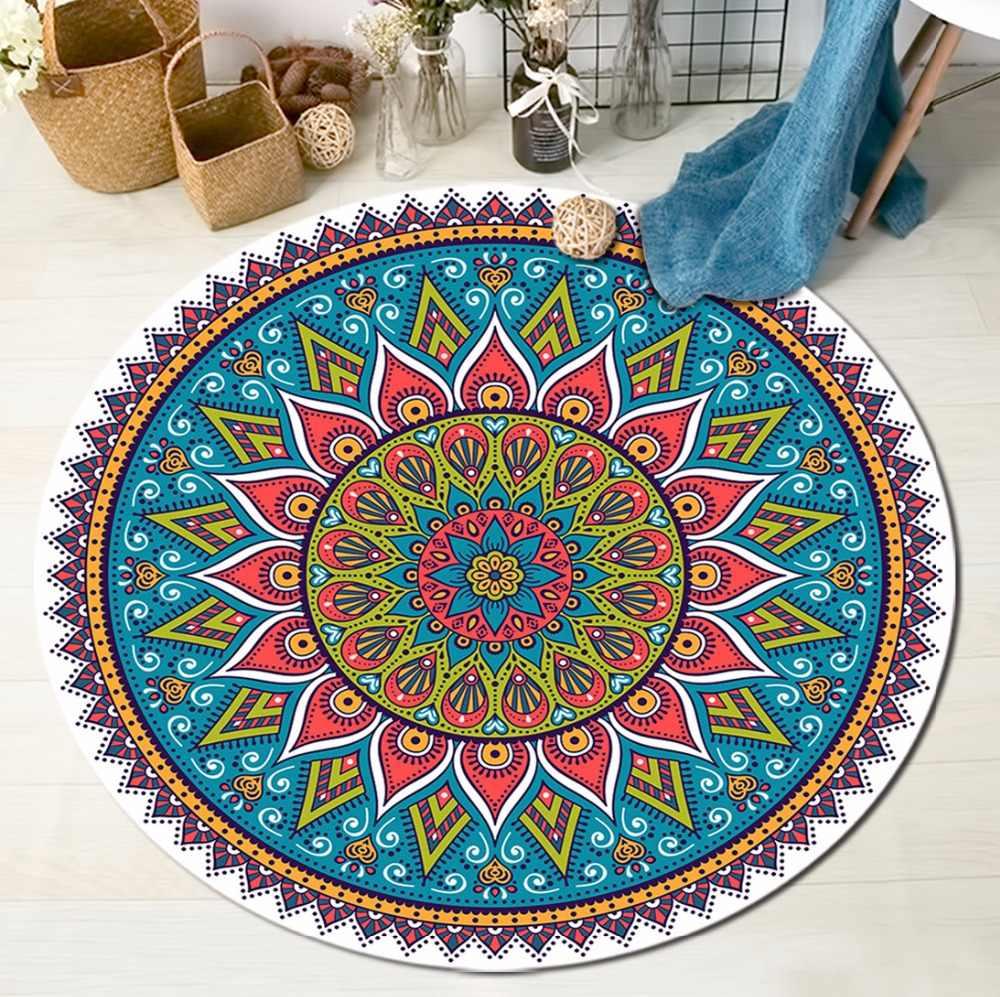 Lb Indian Mandala Moroccan Round Carpets For Children S Home Living Room Cushion Area Rugs Bedroom Non Slip Floor Door Bath Mats