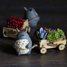 Large Kawaii Cartoon Cute Adorable Creative Chinchilla Cat Cartoon  Farming Cart Design Flower Pot Succulent Planter Desk Decor