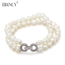 Fashion natural freshwater 7-8mm black baroque double row pearl bracelets jewelry bangle for women