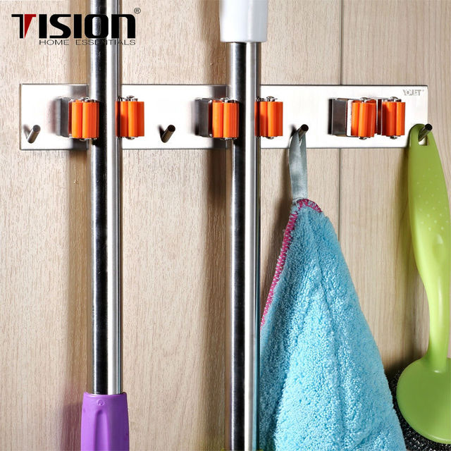 Bagno Mop Scopa Holder Stoccaggio Montato Mop Brush Scopa Organizer ...