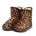 Otoño Invierno de La Manera de La Muchacha del Leopardo de Impresión Espesar Vellosidades Súper Caliente Bota Zapato Niños Unisex Botas de Nieve Antideslizante zapatos