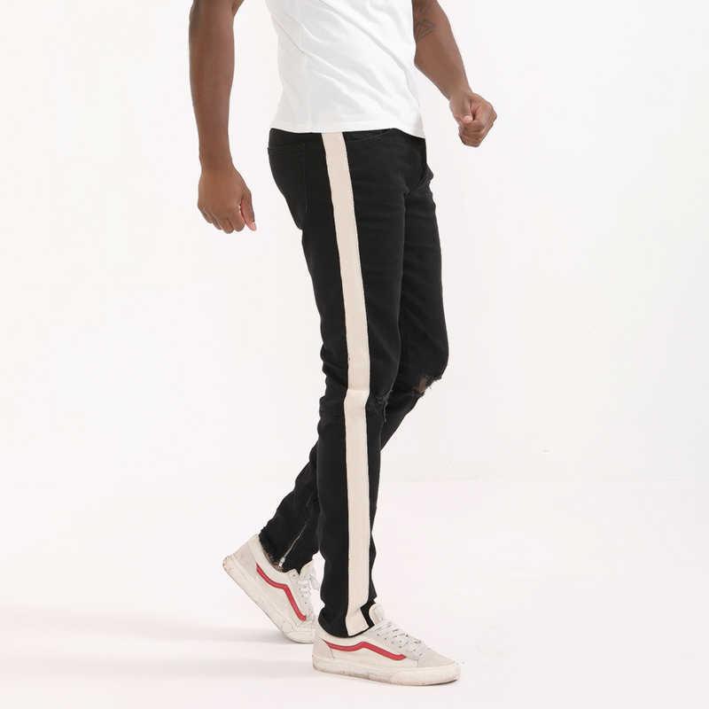 HEYGUYS 2018 модные джинсы для фитнеса повседневные мужские брюки Модные приталенные брюки на молнии уличная одежда хип хоп синие прямые джинсы мужские