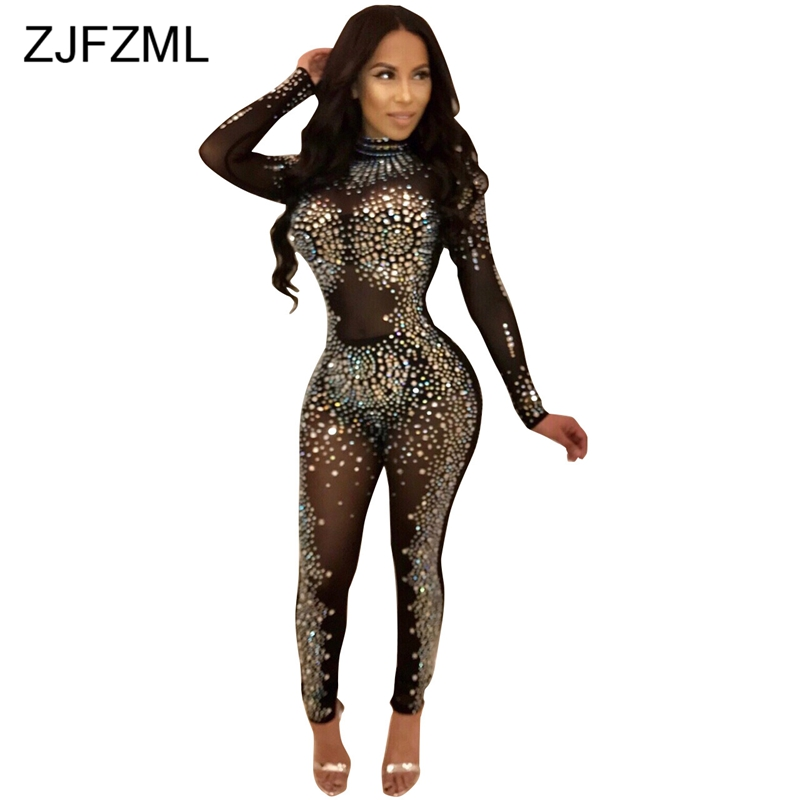 ZJFZML Sheer Mesh Perspective Skinny   Jumpsuit   Women Shiny Rhinestone Christmas Party Romper Autumn Long Sleeve Bodycon Catsuit