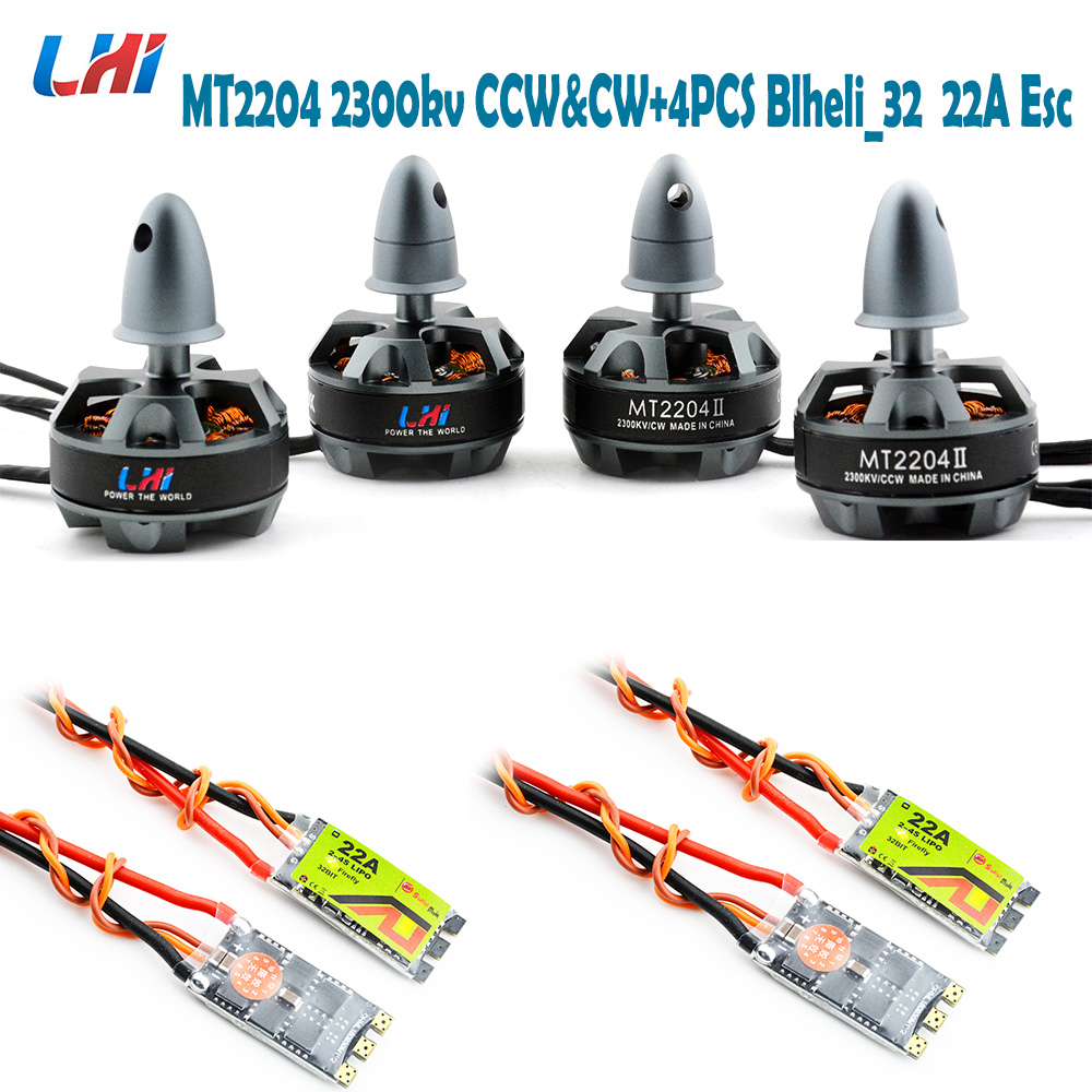 RC quadrocopter frame LHI 2204 CW&CCW 4 pcs Brushless Motor 4pcs BLHeli_32 22A ESC Favourite Blheli_s 20A esc for drone Quad original emax rs1104 5250kv brushless motor t2345 tri blades propellers cw ccw props for 130 rc brushless racer drone q20400