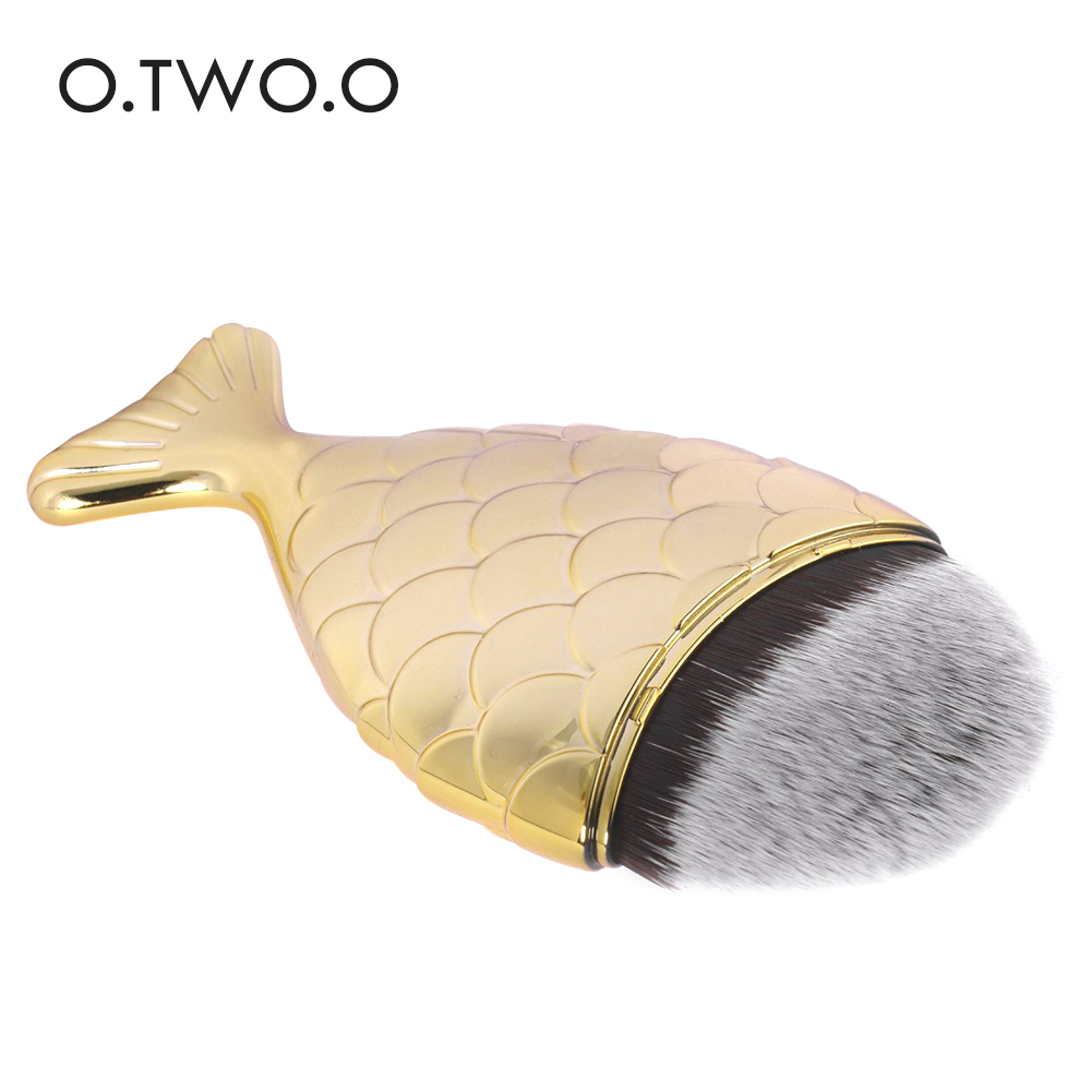 O.TWO.O Gold Color Fishtail Makeup Brush Fish Scale Make up Brush Powder Blush Foundation Cosmetic Brushes Tool 1PC silver professional foundation brush fish scale makeup brushes pro foundation powder blush contour brush fishtail cosmetic tool