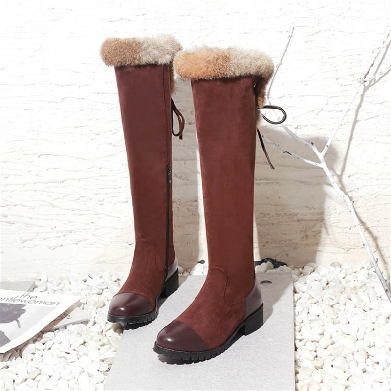 Women\`s Thigh High Boots Autumn Winter Slim Long Tube Over the Knee Boot Big Size 33-43 Female Snow Boots Black Brown Lady Shoe (6)