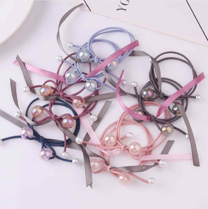 Bow Pearl Hair Ring Jewelry Long Ribbon Hair Rope For Women Girl Ponytail Holder Hair Scrunchy