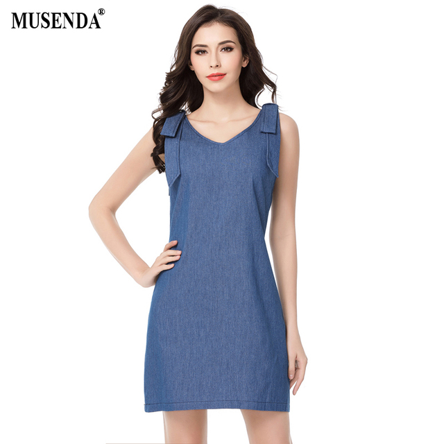 MUSENDA Women Denim V-Neck Shoulder Strap Sleeveless Dress Summer Casual  Fashion A-Line