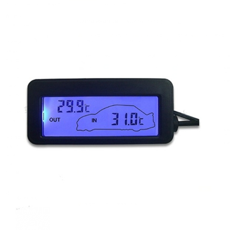 DC 12V digitaalne autotermomeeter must mini-LCD-autos olev sisemine - Mõõtevahendid - Foto 2