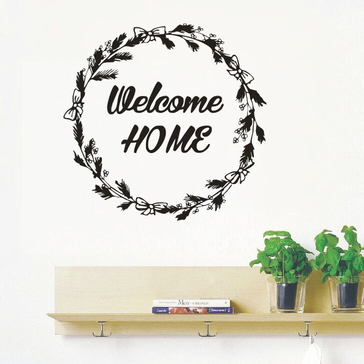 Welcome Home Quote Wall Decals House Interior Design Wall Sticker New Design Rustic Wreath Welcome Home Door Vinyl Sticker AY996 interior design